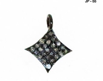 Tiny Pave Diamond Silver Charm , 10 mm Oxidized Sterling Silver Pendant