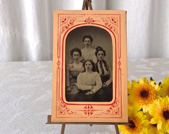 Antique Tintype Victorian Ladies Old Photo Early Photography ca 1880s