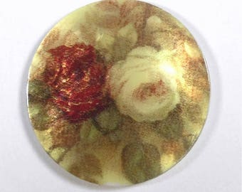 Mother of Pearl Button- Red and White Rose