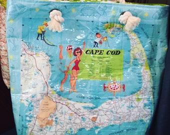 1968 Vintage  Cape Cod Map Large Tote