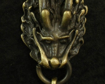 Bronze Alloy Dragon Bead Pendant Necklace EJ0002