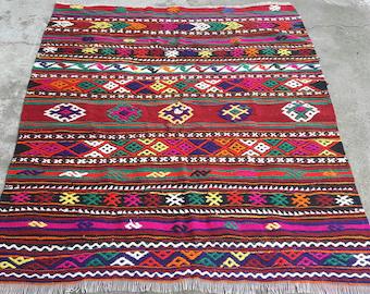 Turkish Kilim Rug,Vintage Rug,Oushak Rug,Wool Rug,Rugs,Area Rug,Oushak Rug,Turkish Vintage Rug,Turkish Rug, Hand Made Rug3'7×4'4 feet