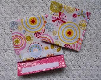 Laminierte Gewebe Snack und Sandwich-Taschen in Rosa Multicolor 2er Set