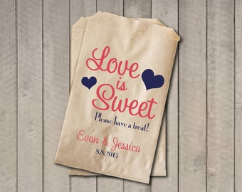 Wedding Favor Bags, Love is Sweet Favor Bags, Personalized Wedding Candy Bags, Wedding Candy Buffet Bags - Coral & Navy