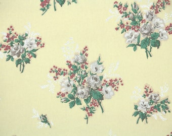 1940s Vintage Wallpaper by the Yard - Floral Wallpaper with White and Gray Roses on Yellow with Pink Flowers
