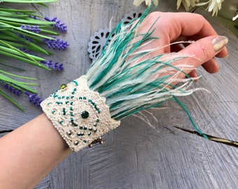 Beige feather wrist corsage Wedding green feather bracelet beads Embroidered bracelet charms Beaded cuff bracelet for women Ostrich feather