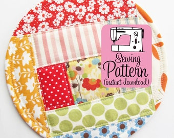 Patchwork Coasters PDF Sewing Pattern   Easy sewing project to make freehand log cabin style patchwork coasters that don't need to be bound.
