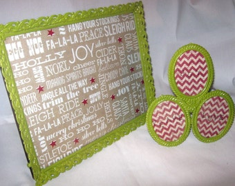 SALE PRiCE  - SALE PRiCE -- Vintage Metal Frames - Upcycled for CHRISTMAS - Chevron & Subway Art Design Paper