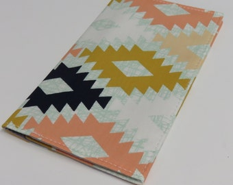 Checkbook Cover Case Cheque Coupons Money Holder - Agave Field - April Rhodes Fabric - Aztec - Tribal - Navajo - Southwestern