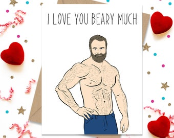 5 x 7 Love you Beary Much, Gay Greeting Card, Gay Card, Gay Greeting, Gay Cards, Funny Gay Greeting, Love Cards, Cards for Him, Boyfriend