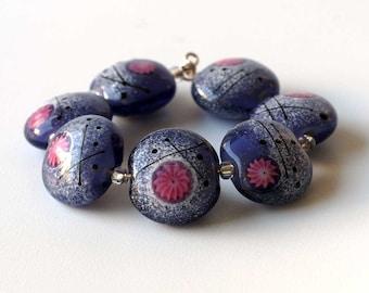 Handmade Purple Glass Bead Set, Pink Flower Lampwork Beads, Bracelet Beads