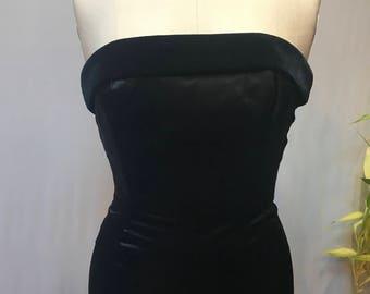 70's/80's vintage black satin strapless dress, with velvet bust trim by Jessica McClintock Gunne Sax.