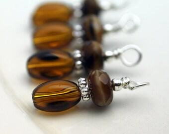 Brown Twisted Glass and Brown Czech Rondelle Bead Dangle Charm Set - 6 Piece