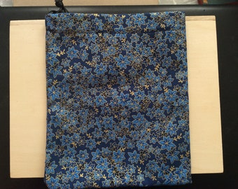 Blue Maple Leaf Tarot Pouch - 100% cotton, Japanese-inspired fabric