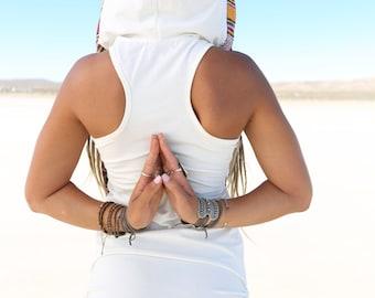 Zzyzx Tribal Hoodie Dress, White, Festival Dress, Hoodie Dress, Festival Clothing, Hoop, Burning Man, Hippie, Navajo, Ceremony