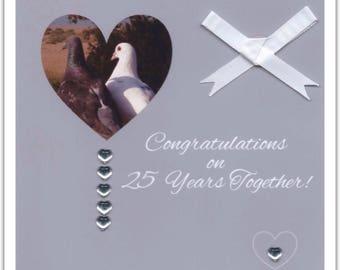 Square Blank Silver Wedding Anniversary Card Love Birds