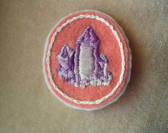 Amethyst Crystals Badge (Patch, Pin, Brooch, or Magnet)