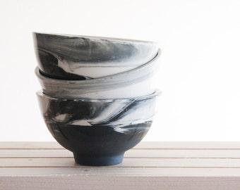 Set of ceramic bowls in white and black marbled pattern. serving bowl, Dipping bowl,dessert bowl,housewarming gift, Wedding gift, Breakfest.