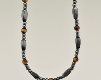 Simply Seductive Collection Three-In-One Necklace - Hematite with Golden Tiger Eye Gemstone