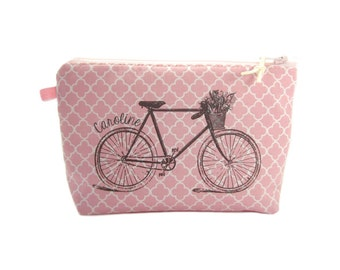 Bicycle Makeup Bag, Pretty Pink Cosmetic Case, Personalised Bike Lover Gift for Her,  Bike Zipper Pouch for Girls