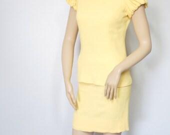 Dress 1960's Yellow Dress Mini Crepe Dress Mod Dress Size Small
