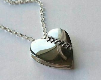 SALE  Sterling silver handmade hollow heart necklace, hallmarked in Edinburgh