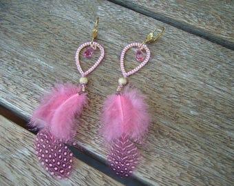 Pink feathery earrings