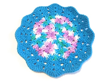 Beach Ball Blues And Hot Blue Crocheted Round Shell Stitch Dish Cloth