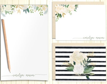 Personalized Stationary Set, Gift Set with Custom Flat and Folded Cards, Elegant Floral Note Cards With Envelope, Flat Note Cards, PS013