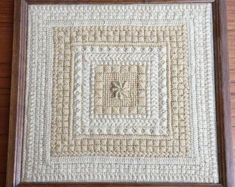 Vintage Boho Crochet Textile In Frame
