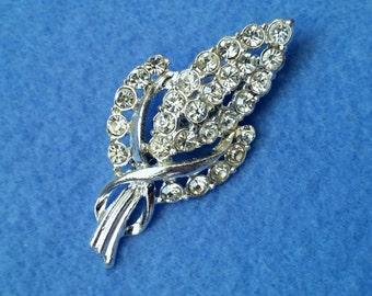 Vintage Rhinestone Wheat Brooch Pin, silvertone costume jewelry