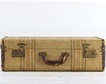 Vintage Suitcase Striped Suitcase Old Suitcase Antique Suitcase Wedding Decor Retro Suitcase Luggage Suitcase Old Luggage Old Suitcases