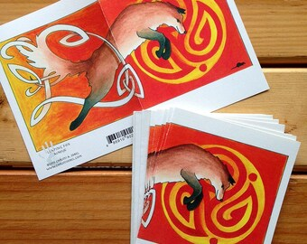 6 blank cards - Leaping fox, red fox with Celtic knot