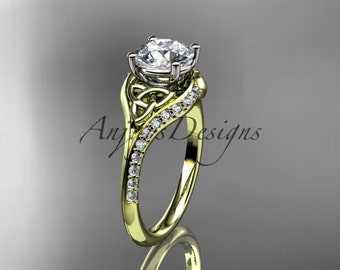 14kt  yellow gold diamond celtic trinity knot wedding ring, engagement ring  CT7125