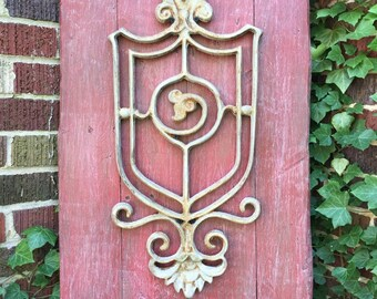 Rustic reclaimed wood wall decor/home decor with wrought iron accent, distressed wood, wrought iron, rustic decor