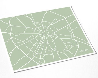 Moscow Map City Line Art Print / Russia Map Art Poster / 8x10 Giclee Print / Choose your color