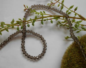 10 glass beads - 6mm / 4mm - faceted gray - imitation Crystal