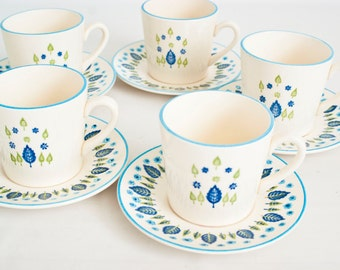 Vintage Stetson Marcrest  Swiss Alpine  Coffee Cups, 1950s, Chalet Blue Leaf and Tree Print Teacups and Saucers (set of 5)