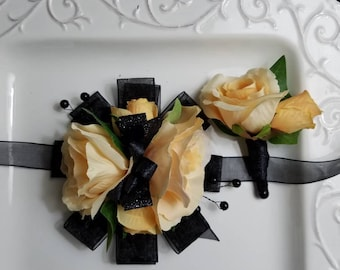 Yellow and Black Wrist Corsage With Matching Boutonniere READY To SHIP Prom Set Artificial Flowers.