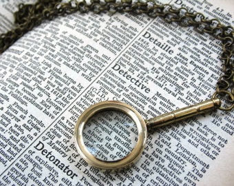 Steampunk Magnifying Glass Necklace - UP CLOSE - Sherlock Holmes Mens Womens Unisex Gift Brass Bronze Etsy UK