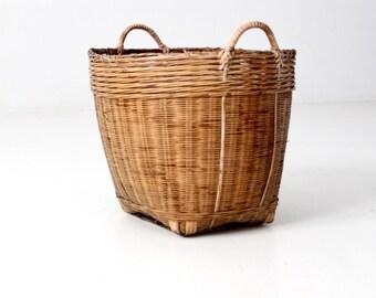 vintage handled basket, woven storage basket, hamper basket