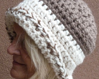 Chunky yarn makes this chocolate brown and white winter hat unique, women's winter hat is original, versatile style handcrafted crochet hat
