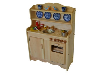 Child's Waldorf Kitchen- Montessori -Wooden Play Kitchen-Hardwood Toy Kitchen- Play Kitchen- Pretend Kitchen-toy stove-wooden kids stove-