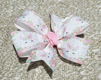 3 inches pinwheel hair bow unicorn non slip alligator clip