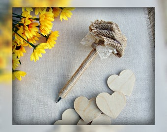 Rustic Wedding Pen Shabby Chic Wedding Guest Book Pen