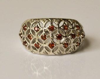 Garnet Ring, Sterling Silver Diamond and Garnet Openwork Ring, Size 7, January Birthstone