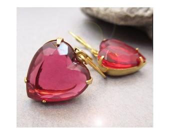 Red Heart Earrings, Heart Glass Earrings, Valentine Earrings, Heart Earrings, Gift For Her, Heart Jewelry, Drop Earrings