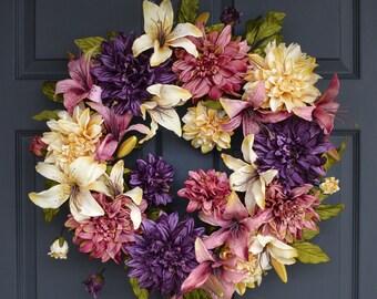 Splendid Wreath | Dahlia & Lily Wreath | Front Door Wreaths | Spring Wreath | Wreaths | Outdoor Wreath | Mother's Day Gift
