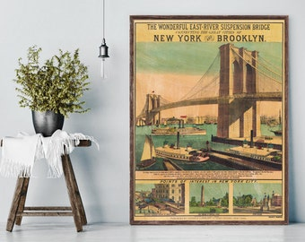 Vintage 19th Century Brooklyn Bridge hand-painted poster reprint, old 1883 New York City decor, 4 sizes, home/office decor