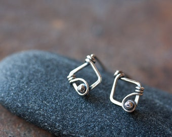 Small Unique Silver Earrings - Tiny sterling silver earrings, wire wrapped diamond shape with metal bead, oxidized and polished